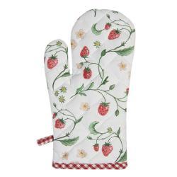 Clayre & Eef Bavlněná chňapka s motivem lesních jahod Wild Strawberries - 16*30 cm