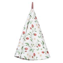 Clayre & Eef Bavlněná utěrka s motivem lesních jahod Wild Strawberries – Ø 80 cm