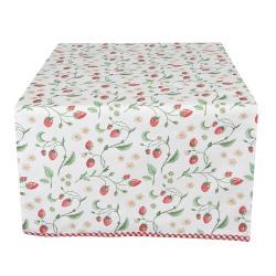 Clayre & Eef Bavlněný běhoun na stůl s motivem lesních jahod Wild Strawberries - 50*140 cm