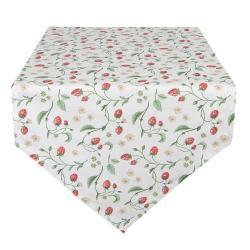 Clayre & Eef Bavlněný běhoun s motivem jahod Wild Strawberries - 50*160 cm