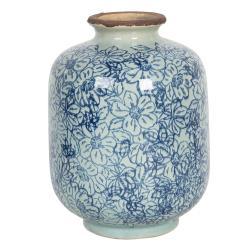 Clayre & Eef Keramická váza ve vintage stylu s modrými kvítky Bleues – Ø 10*15 cm