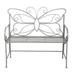 Clayre & Eef Šedá kovová zahradní lavice Butterfly - 108*55*99 cm