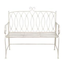 Clayre & Eef Krémová zahradní kovová lavice Lucille - 104*55*96 cm