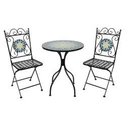 Clayre & Eef Kovový set zahradního nábytku s mozaikou Turquoise – Ø 60*72 cm / 36*35*91 cm