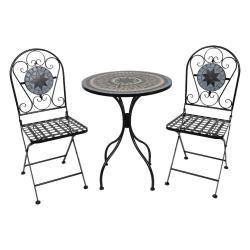 Clayre & Eef Set kovového zahradního nábytku s mozaikou Vitrail – Ø 60*72 cm / 36*35*91 cm