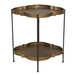 Clayre & Eef Zlato-hnědý odkládací stolek se dvěma patry Efrosyni - 57*50*62 cm
