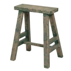 Clayre & Eef Vysoká dřevěná zelená dekorační stolička s patinou - 39*29*47 cm