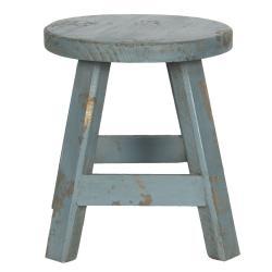 Clayre & Eef Modrá dekorační stolička s patinou - 16*16*18 cm