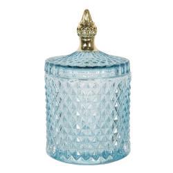 Clayre & Eef Modrá skleněná oválná dóza s víkem a zlatým zdobeným úchytem - Ø 10*17 cm