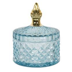 Clayre & Eef Modrá skleněná dóza s víkem a zlatým zdobeným úchytem - Ø 10*13 cm