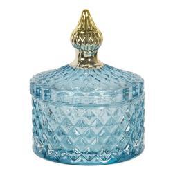 Clayre & Eef Modrá skleněná dóza s víkem a zlatým úchytem - Ø 8*11 cm
