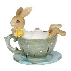 Clayre & Eef Dekorace králíčka ležícího v šálku - 10*8*9 cm