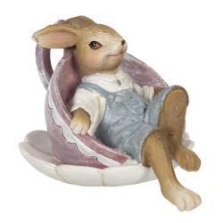 Clayre & Eef Dekorace králíčka odpočívajícího v šálku - 11*8*7 cm