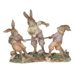 Clayre & Eef Dekorace králíků přetahujících se o provaz - 20*7*15 cm