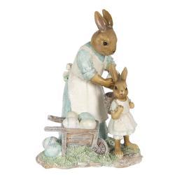 Clayre & Eef Dekorace králičí maminky nakládající vajíčka - 15*11*20 cm