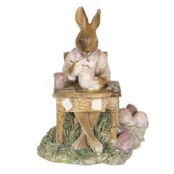 Clayre & Eef Dekorace králíka malujícího vajíčka - 11*9*14 cm