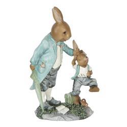 Clayre & Eef Velikonoční dekorace králíka tahajícího králíčka za uši - 12*7*19 cm