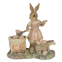 Clayre & Eef Velikonoční dekorace králičí slečny nabírající vajíčka - 12*6*12 cm