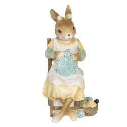Clayre & Eef Velikonoční dekorace králičí slečny s pletením - 9*8*18 cm