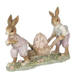 Clayre & Eef Velikonoční dekorace králíků s kolečkem - 16*5*12 cm