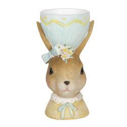 Clayre & Eef Dekorace králičí dámy s držákem na vajíčko v klobouku - 7*7*12 cm