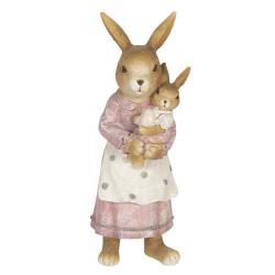 Clayre & Eef Velikonoční dekorace králičí mámy s králíčkem - 7*7*19 cm