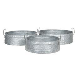 Clayre & Eef Stříbrné plechové misky pod květiny  (sada 3) - Ø 39*15 / Ø 35*14 / Ø 31*13 cm