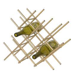 Clayre & Eef Zlatý kovový stojan na láhve vína - 47*14*40 cm