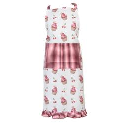 Clayre & Eef Kuchyňská zástěra z bavlny Cherry Cupcake - 70*85 cm