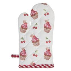 Clayre & Eef Bavlněná kuchyňská chňapka pro děti Cherry Cupcake - 12*21 cm