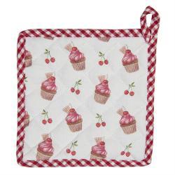 Clayre & Eef Bavlněná podložka pod hrnec Cherry Cupcake - 20*20 cm