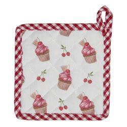 Clayre & Eef Bavlněná podložka pod nádobí pro děti Cherry Cupcake - 16*16 cm