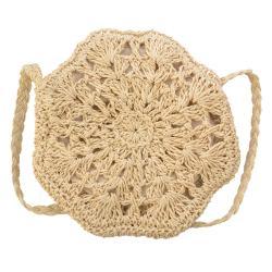 Clayre & Eef Přírodní drhaná taška přes rameno - ø 20 cm