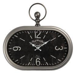 Clayre & Eef Černo-stříbrné vintage hodiny Cafe De La Tour - 50*3*44 cm / 1*AA