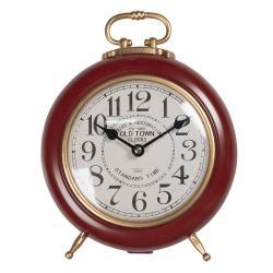 Clayre & Eef Červeno-zlaté vintage stolní hodiny Old Town - 28*21*10 cm / 1*AA