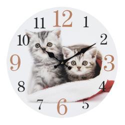 Clayre & Eef Nástěnné hodiny s motivem koťat – Ø 34*4 cm / 1*AA