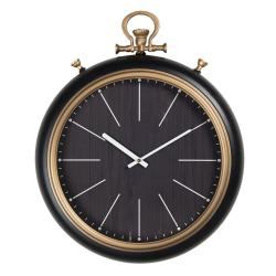 Clayre & Eef Minimalistické černo-zlaté nástěnné hodiny Dorés - 42*8*54 cm / 1*AA