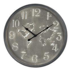 Clayre & Eef Vintage nástěnné hodiny se světadíly – Ø 48*6 cm / 1*AA
