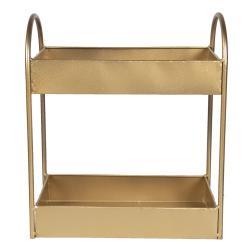 Clayre & Eef Zlatý kovový policový regál - 30*15*35 cm