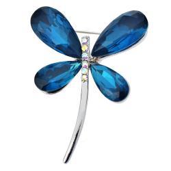 Clayre & Eef Stříbrná brož ve tvaru vážky s modrými křídly