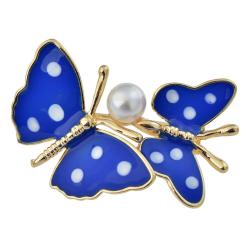 Clayre & Eef Zlatě lemovaná brož dvou modrých motýlů s perlou