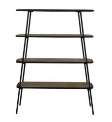 Light & Living Černý kovovo - dřevěný policový regál Colavi - 120*35*165 cm