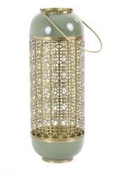 Light & Living Zeleno-zlatá kovová lucerna Rohit - Ø 16*44 cm