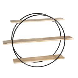 Clayre & Eef Kulatý kovový nástěnný stojan Circle s poličkami - 80*16*60 cm