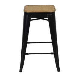 Clayre & Eef Černá barová stolička Sergio s ratanovou výpletí - 31*31*62 cm
