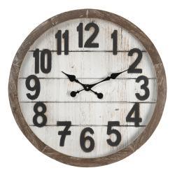 Clayre & Eef Velké nástěnné hodiny s patinou – Ø 60*6 cm / 1*AA