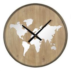 Clayre & Eef Nástěnné dřevěné hodiny s kontinenty – Ø 61*7 cm / 1*AA