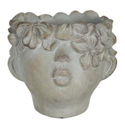 Clayre & Eef Malý květináč v designu hlavy s květinovým věncem Tete - 12*10*9 cm