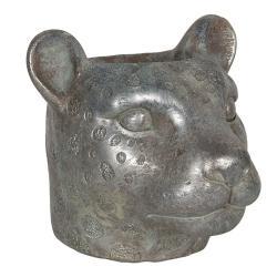 Clayre & Eef Květináč ve tvaru hlavy leoparda - 16*15*14 cm