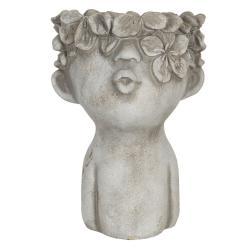 Clayre & Eef Obal na květináč v designu busty s květinovým věncem Tete - 17*17*25 cm